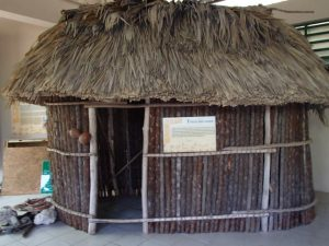 A model of a Mayan house .. exhibited in the museum